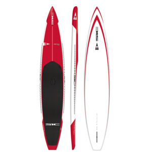 SIC Maui FX 12.6 Pro Race Paddleboard in red with black pad.