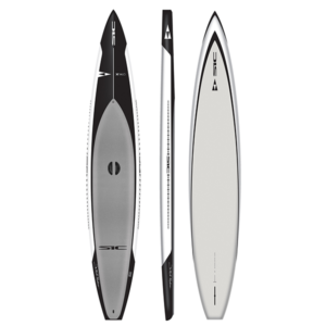 SIC Maui X14 race paddleboard in black with white trim and grey pad top, side, and bottom image.