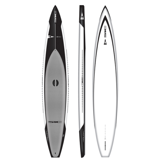 SIC Maui X14 TWC in black with white trim and gray pad stop, side, and bottom image.
