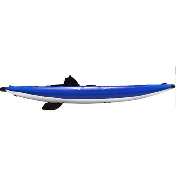 Aquaglide inflatable one man kayak in blue side view.