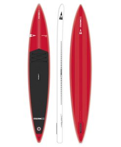 SIC Maui Bullet 14' inflatable in red with black pad front, side, and bottom view.