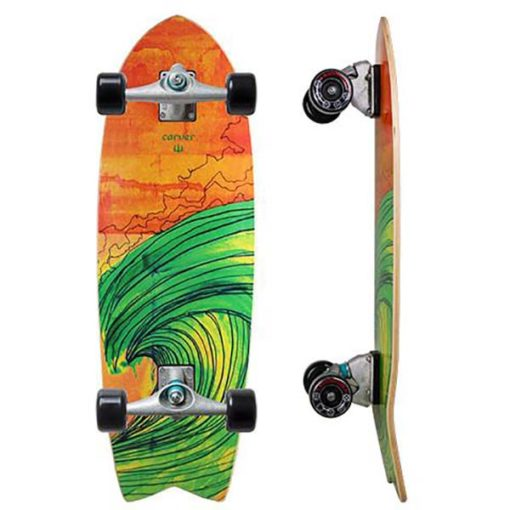 """Carver 29"""" Swallow tail with orange background and green wave graphics."""