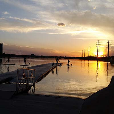 Looking from the Tempe Town Lake from the Marina looking towards the west.