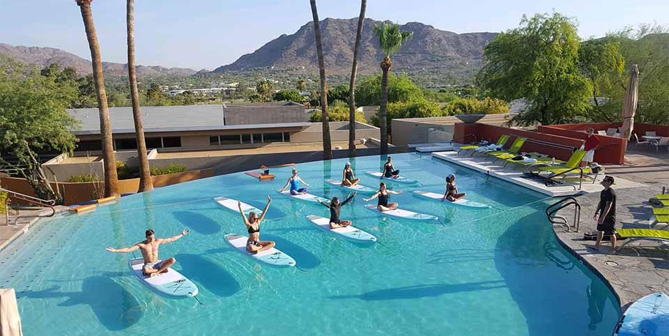 SUP Yoga at Sanctuary pool in Paradise Valley