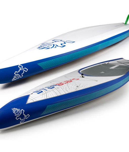 Starboard SUP Touring board deck and bottom view from front.