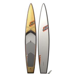 JP Australia Wood version of the AllWater GT touring SUP front and back view.