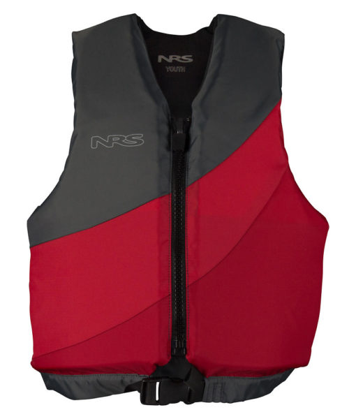 NRS Crew youth life jacket front in red. and gray