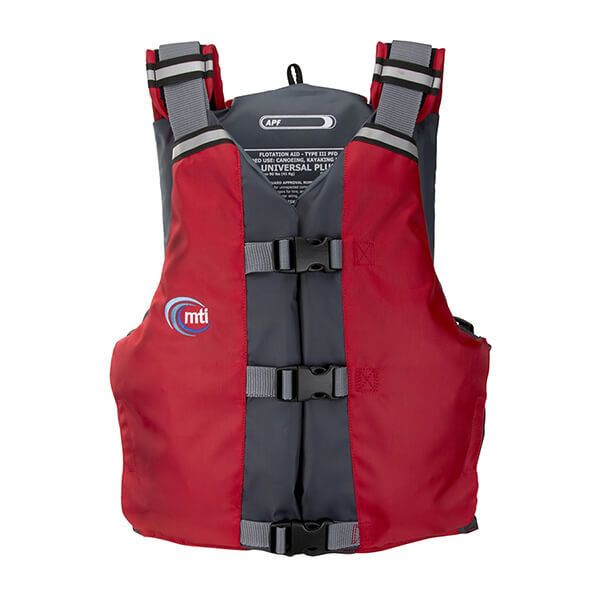 MTI APF Universal life jacket front in red.
