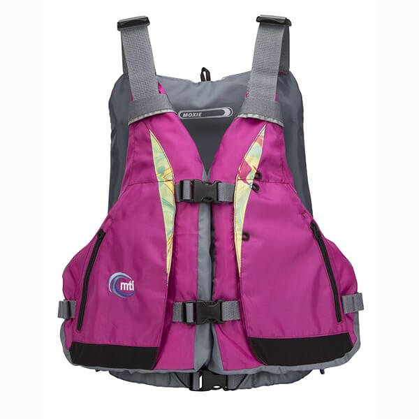 The MTI Moxie PFD in Berry Caribe front view.