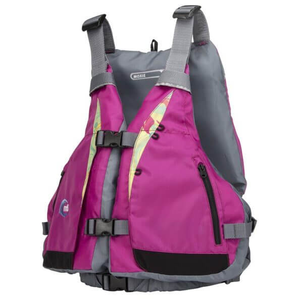 The MTI Moxie PFD in Berry Caribe side view.