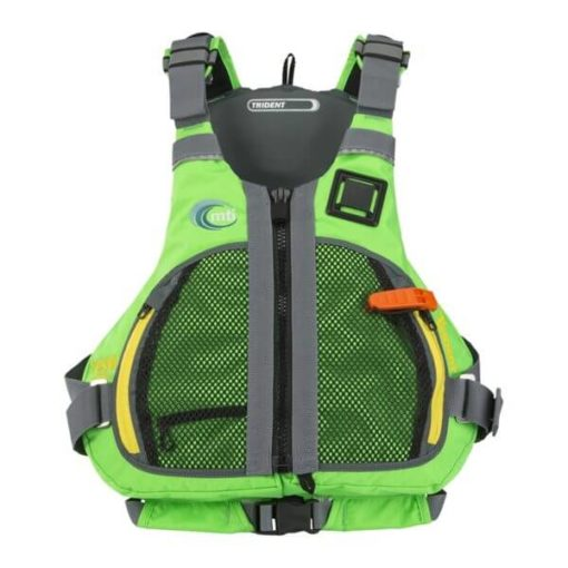 Front view of the MTI Trident life jacket in green.