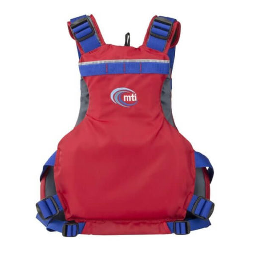 Back view of the MTI Trident life jacket in red.