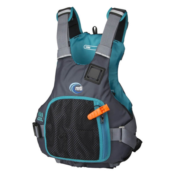 The MTI Vibe PFD in the new for 2018 black and turquoise side view.