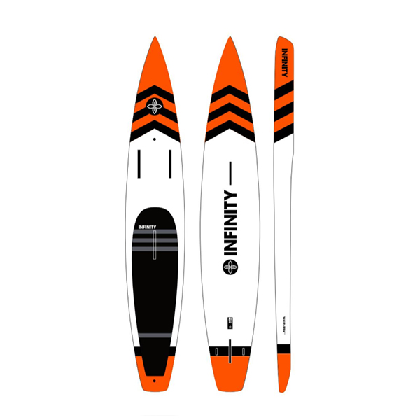 Infinity SUP 2018 orange Whiplash front, bottom, and side view.