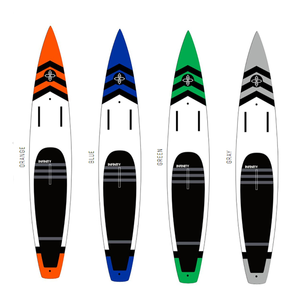 Infinity SUP 2018 Whiplash colors. Orange, Blue, Green, and Gray.
