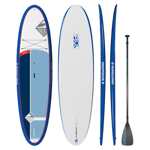 Boardworks SOLR paddle and paddleboard package in blue, red, and white.