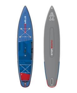 Starboard SUP Double Chamber Inflatable Touring board deck and bottom view.