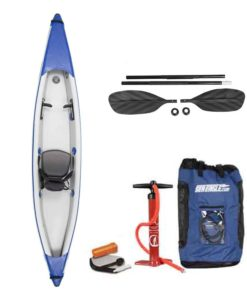 The Sea Eagle 393rl inflatable solo kayak pro package.
